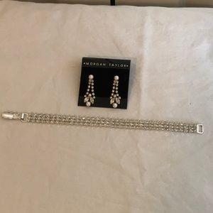 Rhinestone bracelet and earrings